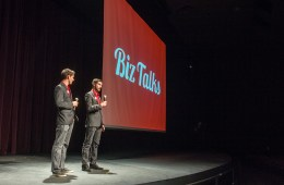 Ben Sampson, left, and Sean Woulfe, right, during a Biz Talks event.