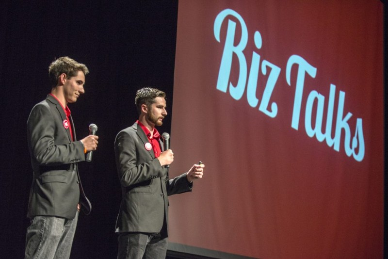 Sean Woulfe introduces Ben Sampson during a Biz Talks event.