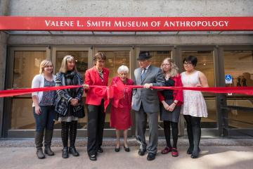 Professor Emerita Valene L. Smith attended the newly expanded museum's ribbon-cutting ceremony on her birthday, February 14.