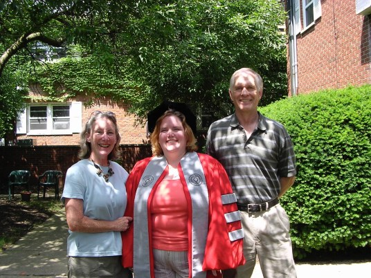 "From left: Adele Bealer, Katie Whitlock, and Steven Bealer at The Ohio State University in 2004, on the day Whitlock received her PhD—the ""proudest moment"" of her mother's life."