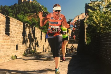 Michelle Vanden Bosch racing on the Great Wall of China.