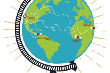 A graphic of a globe featuring the countries three Chico State Alumni have traveled.