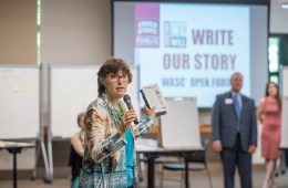Gayle Hutchinson (center) talks to students, staff, and faculty to participate in the Together We Will … Write Our Story: WASC Open Forum on Monday, May 1, 2017 in Chico, Calif. The drop-in forum provides an initial opportunity for students, faculty, and staff to meet representatives of WASC Essay Committees who are charged with writing sections of the Institutional Report, an essential part of our reaccreditation effort. (Jason Halley/University Photographer)