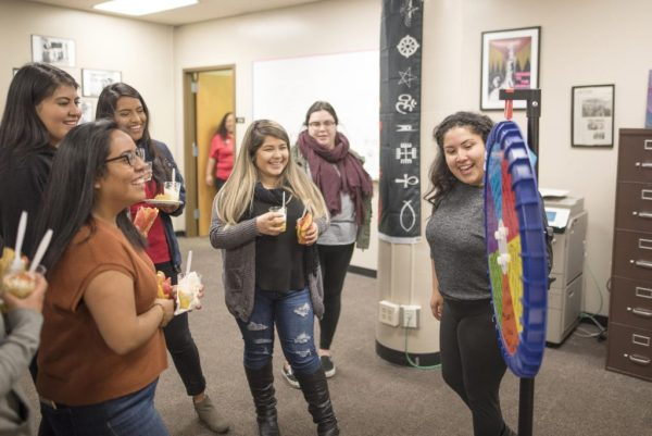 The Multicultural and Gender Studies Department holds an open house with games and snacks as they reveal their new space to the campus. This open house event is held to showcase the new locations for the Chico State Dream Center, the Multicultural and Gender Studies Department, and the PATH Scholars located on the east wing of the Meriam Library the on Monday, February 19, 2018 in Chico, Calif.  (Jessica Bartlett/University Photographer) 3