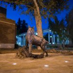 Dramatic lighting shows the statue in Wildcat Plaza at night