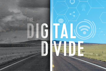 "The words ""the digital divide"" are overlaid over a rural road, split in half, with one side looking like a cracking old black and white photo and the other side in color with internet symbols."
