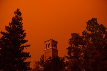 Trinity Hall amid a glowing orange sky.