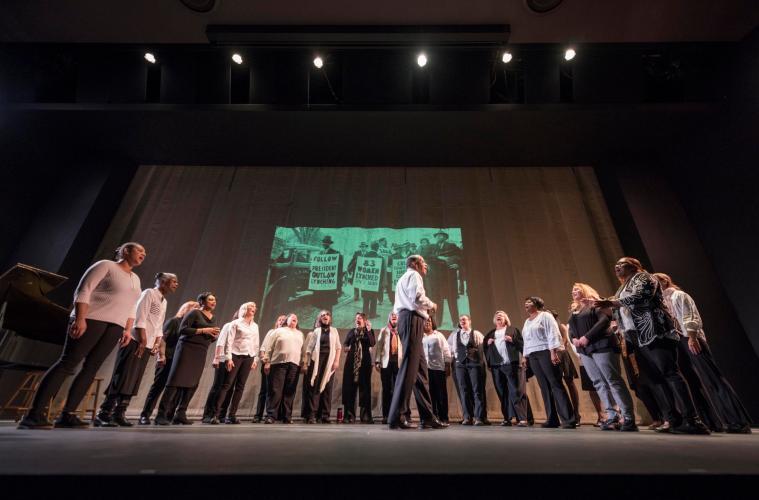 The Black History Celebration Choir performs during Chico State's Black History Month celebration.