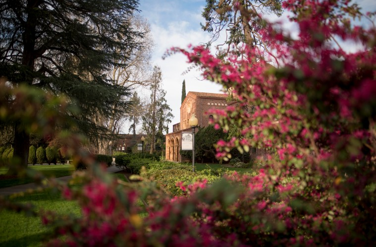 Kendall Hall is flanked with colorful pink flowers and other green vegetation.