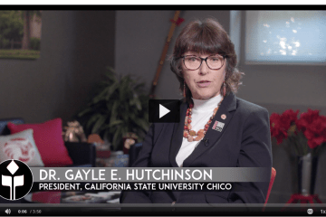 President Hutchinson sits in her office and speaks on video about the Camp Fire anniversary