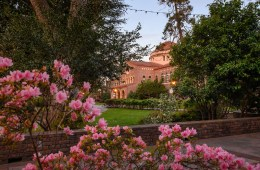 Kendall Hall with spring flowers in the foreground