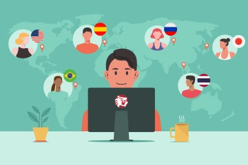A cartoon of a student at a computer with map of world behind him with other student faces in different countries.