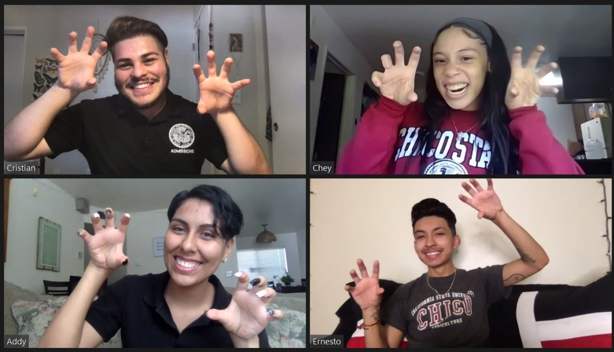 A four-panel grouping of Zoom videos shows students holding up their hands like they are fierce Wildcats.