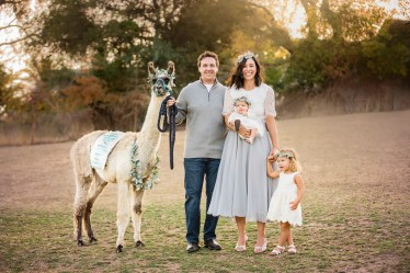 Lee Gordon and family with llama