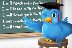 Twitter bird with chalk in wing in front of chalk board