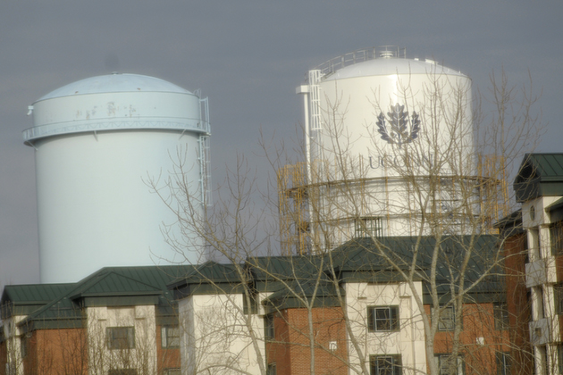 UConn's water towers, with Towers residence halls in the foreground. (Peter Morenus/UConn Photo)