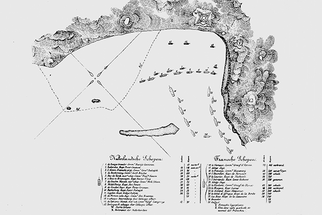 Map of the Battle of Scarborough Harbour, 1677