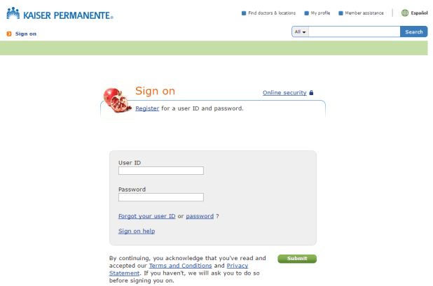 kaiser permanente login page screenshot
