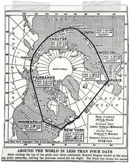 howard hughes map around the world