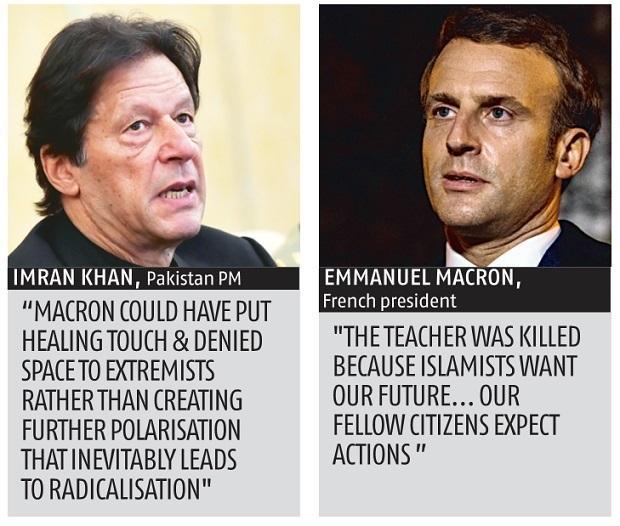 Imran khan accuses Macron of creating Islamophobia due to french beheading case