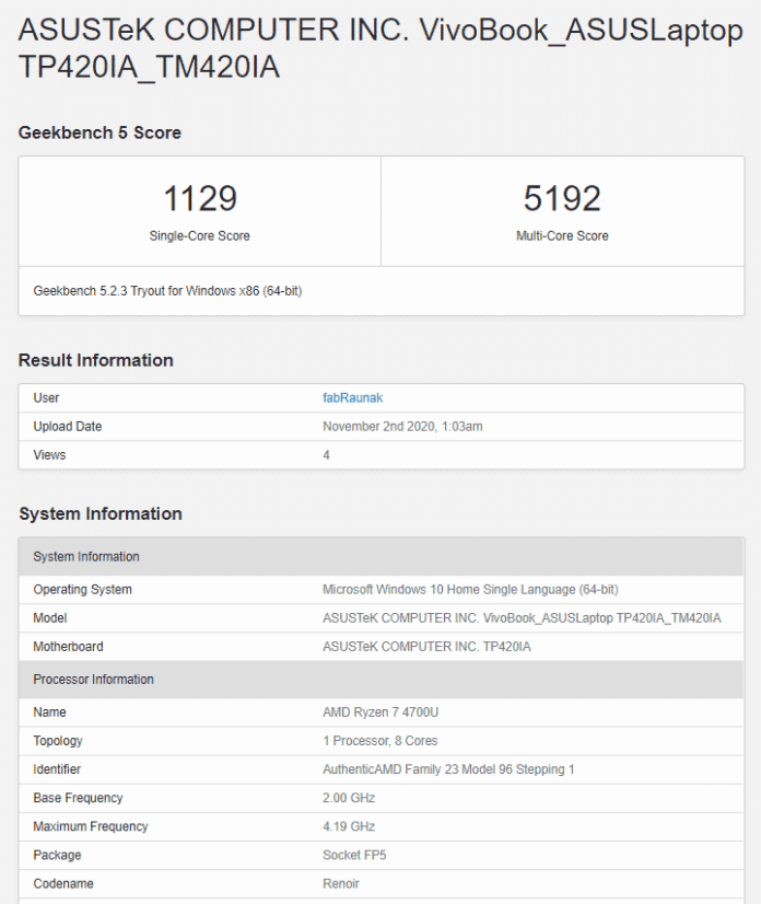 Performance report before update