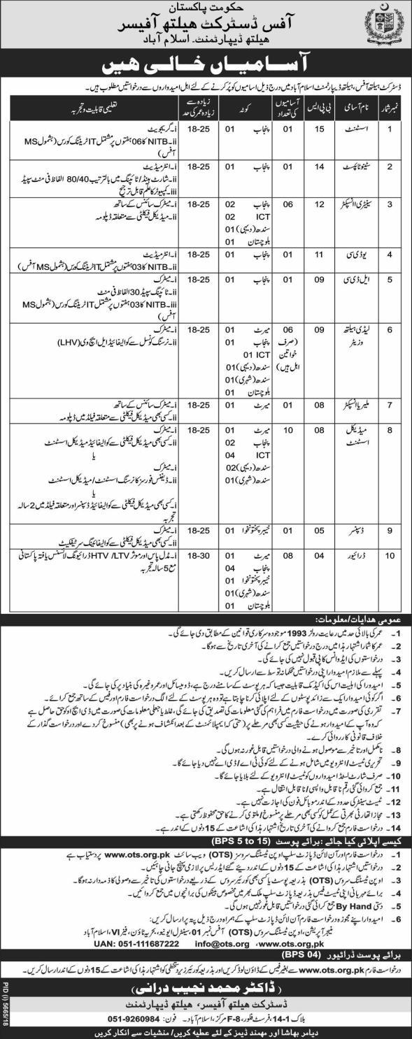 Health Department Islamabad OTS Jobs 2019