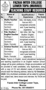 FAZAIA College Jobs 2020 Application Form Download 1
