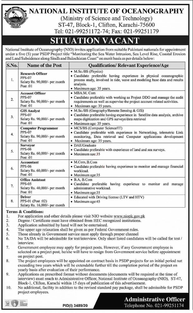 National Institute of Oceanography Jobs 2021