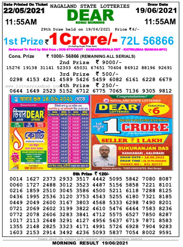 Nagaland State Lottery Result 11:55 AM