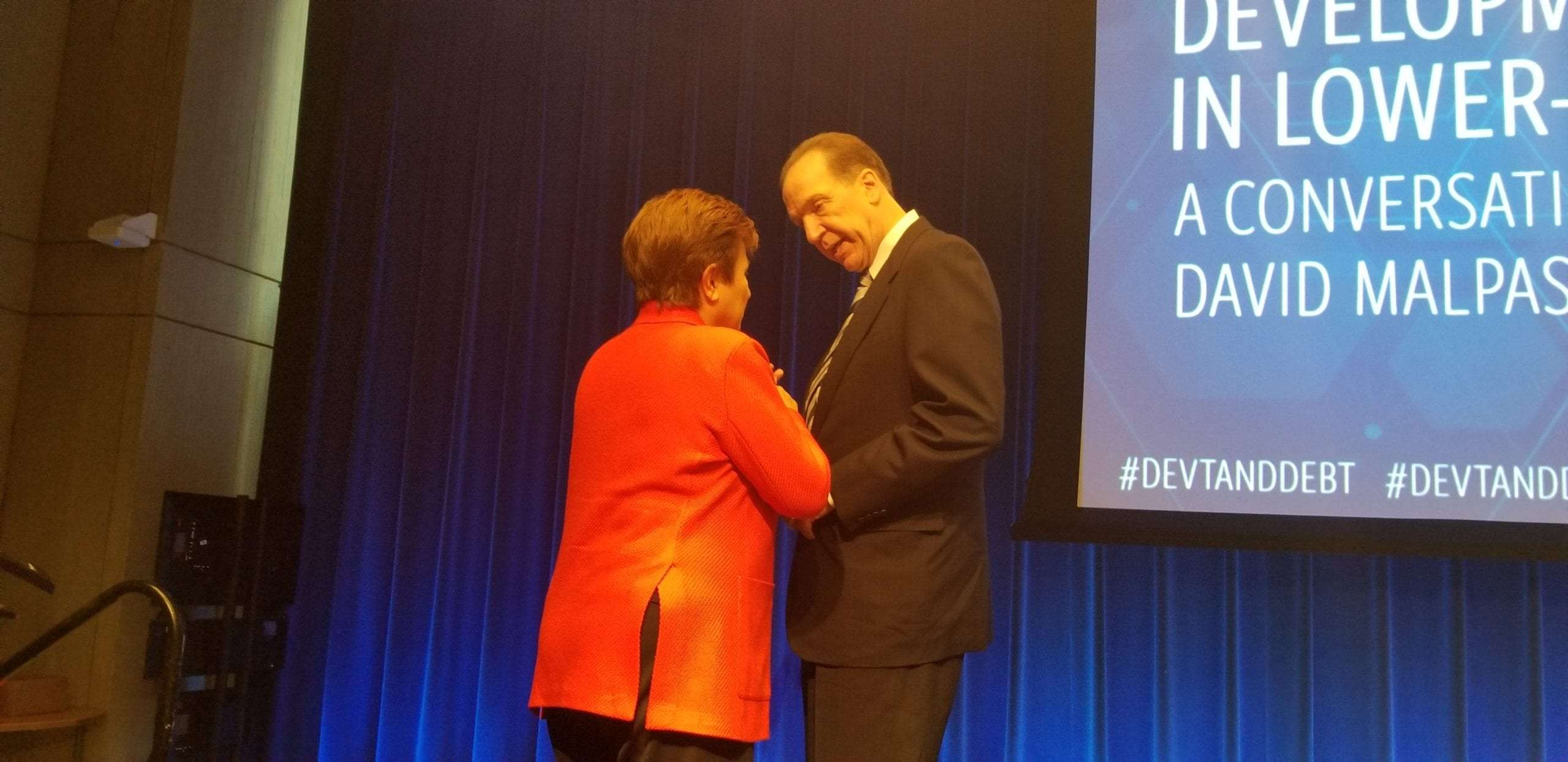 World Bank President David Malpass and IMF Managing Director Kristalina Georgieva discussing debt management and sustainability for lower-income countries in Washington DC on Monday