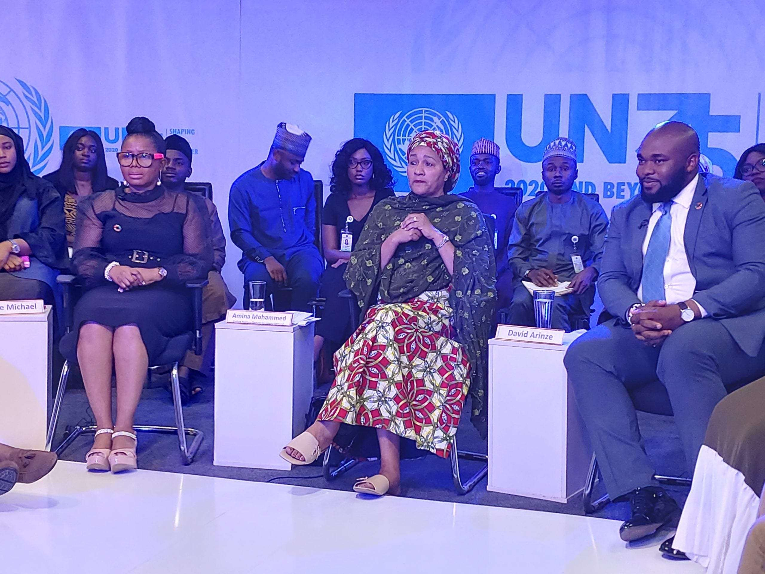 UN Deputy Secretary-General Amina Muhammed (middle) responds to a question during the dialogue with some youths A Group Photograph of the youths and Ms Amina Muhammed #UN75: Global Dialogues with Youth Intensifies as DSG Amina Muhammed Engages Young People in Nigeria