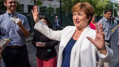 Managing Director Kristalina Georgieva meets staff on her first day at the IMF in October 2019 and takes partin FaceBook Live interview