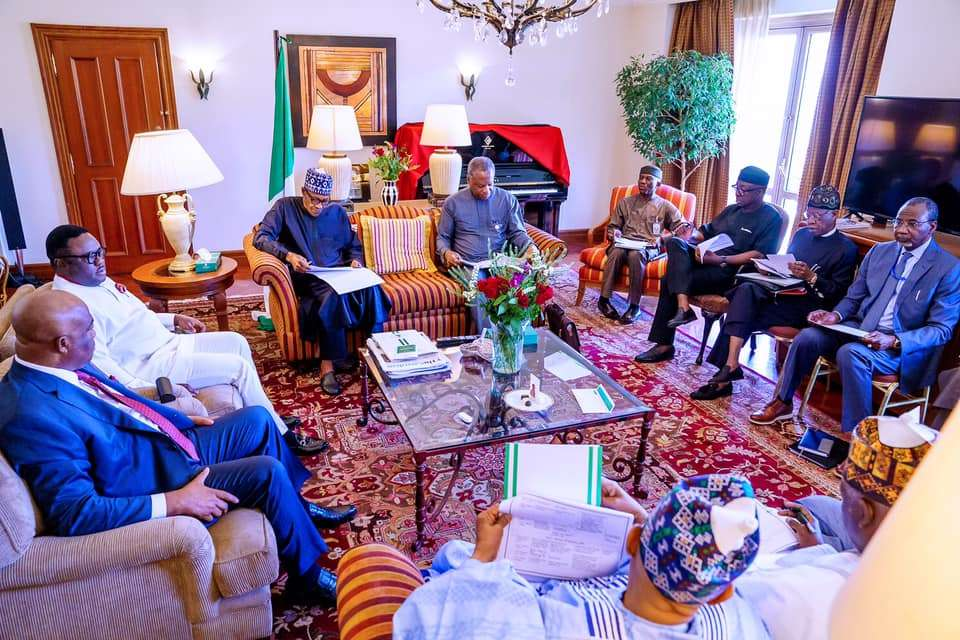 President Buhari with Foreign Affairs Minister Geoffrey Onyeama