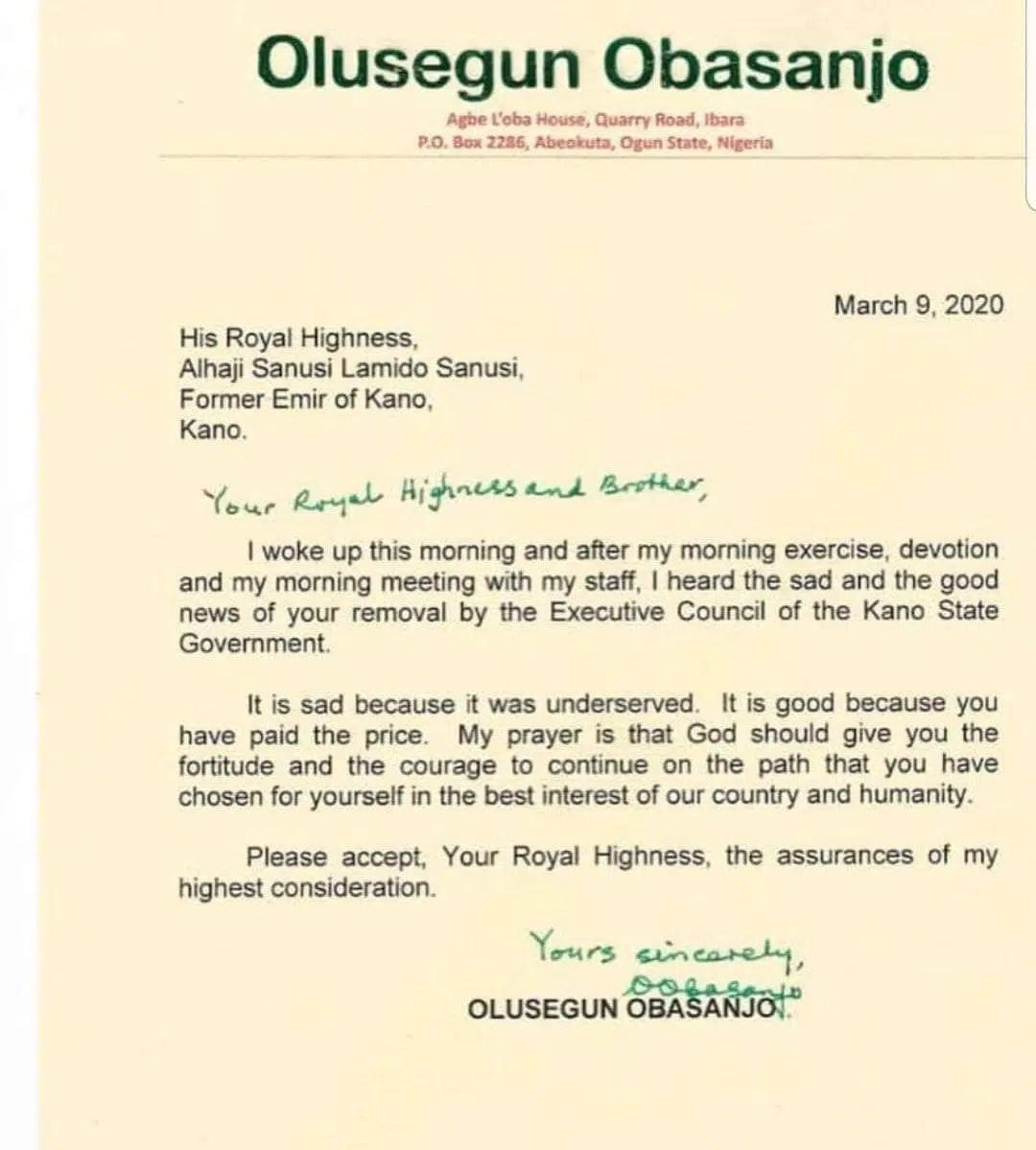 Obasanjo write Sanusi