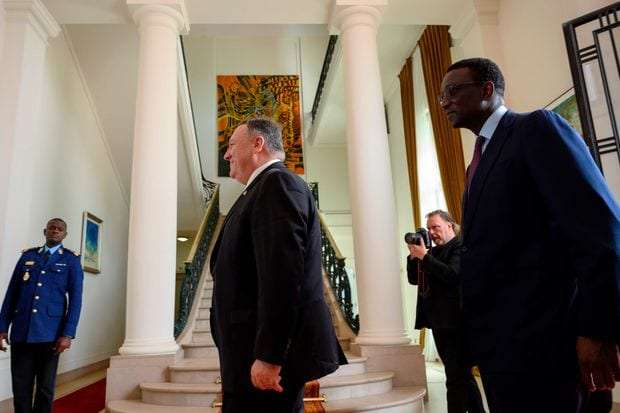 U.S. Secretary of State Michael Pompeo and Senegalese Foreign Minister Amadou Ba discuss strengthened cooperation in Senegal on Sunday February 16
