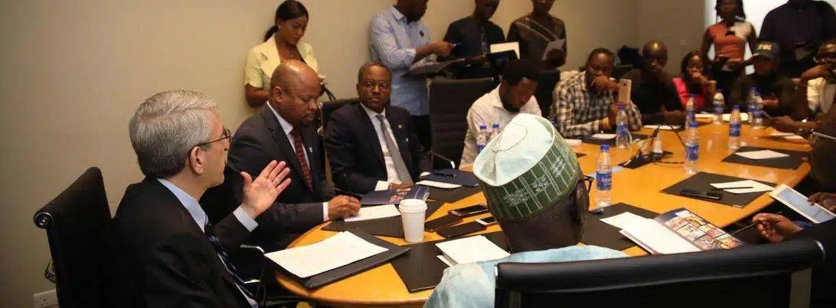 Yale University President Peter Salovey seaking in Lagos