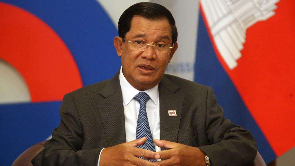 Cambodia's prime minister Hun Sen attends a meeting with Russian president Vladimir Putin at Bocharov Ruchey State Residence in Sochi