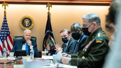 President Joe Biden and Vice President Kamala Harris meet with national security advisers to discuss the situation in Afghanistan, Thursday, August 19, 2021, in the White House Situation Room. (Official White House Photo by Erin Scott)