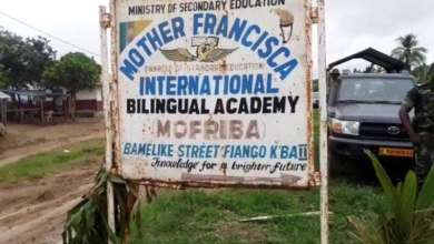 Screenshot of a video filmed outside Mother Francisca Bilingual Academy, in Kumba, South-West region, after the attack which killed 7 children on October 24, 2020 © Private