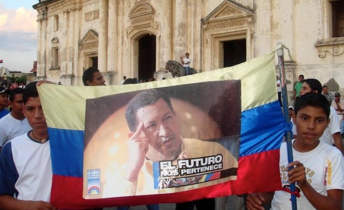 Nicaraguans rally outside the Cathedral in León waiting for a visit from Venezuelan President Hugo Chávez back in 2009 (photo/ Tim Rogers)