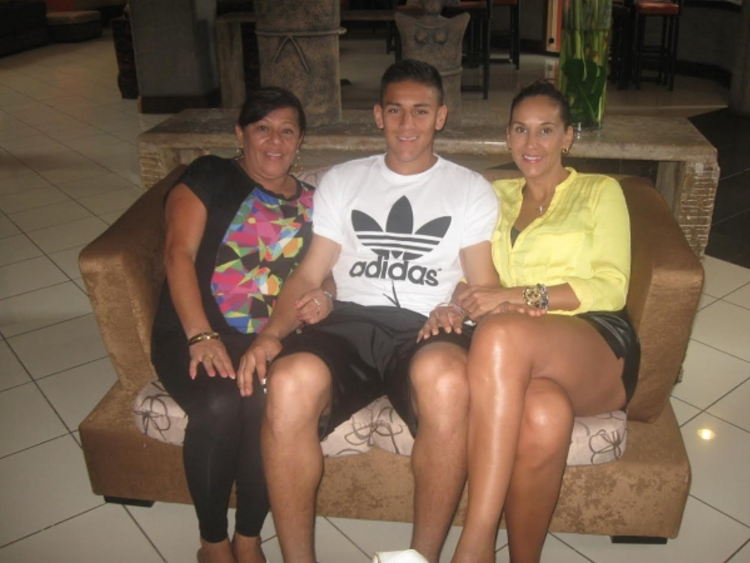 Duarte with his family in his hometown of Catarina