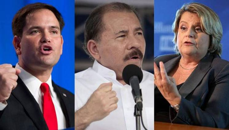 From left to right: U.S. Sen. Marco Rubio, Nicaraguan President Daniel Ortega and U.S. Rep. Ileana Ros-Lehtinen. Miami Herald Staff Read more here: http://www.miamiherald.com/news/nation-world/world/americas/article4464479.html#storylink=cpy