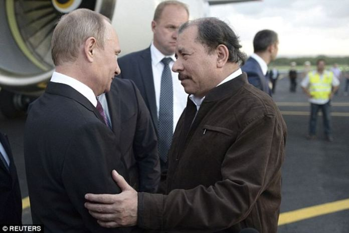 Russian President Vladimir Putin is pictured meeting his Nicaraguan counterpart, Daniel Ortega, who has led the left-wing Sandinistas for more than 30 years