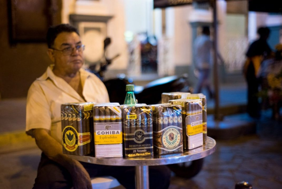 Cigars are for sale on the streets of Granada. Nicaragua's hand-r