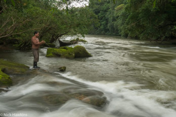 A Rama man fishes at the base of a waterfall along the Indian River in the Indio-Maiz Biological Reserve of Nicaragua.