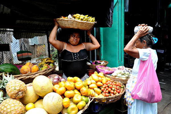 Two women working at the Oriental Market (Mercado Oriental) in Managua. (AFP/Getty Images)