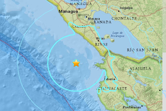 Magnitude 5.9 Quake Hits Southwest of Rivas, Nicaragua