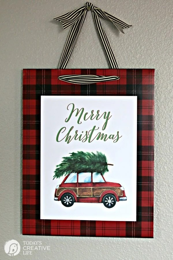 """This adorable red car with a Christmas tree will be your favorite for years to come.""  Vintage Car and Christmas Tree Free Printable Artwork 