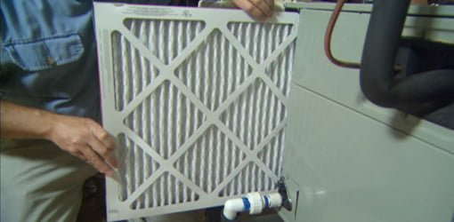 Changing air filter on HVAC system