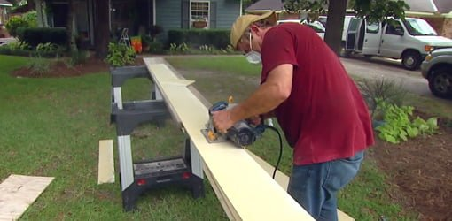 Sawing outside to reduce dust.